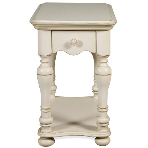Riverside Furniture Placid Cove 1 Drawer Rectangular Chairside Table with Bottom Shelf