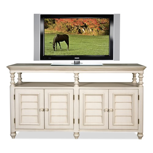 Riverside Furniture Placid Cove Rectangular TV Console with Shutter Doors