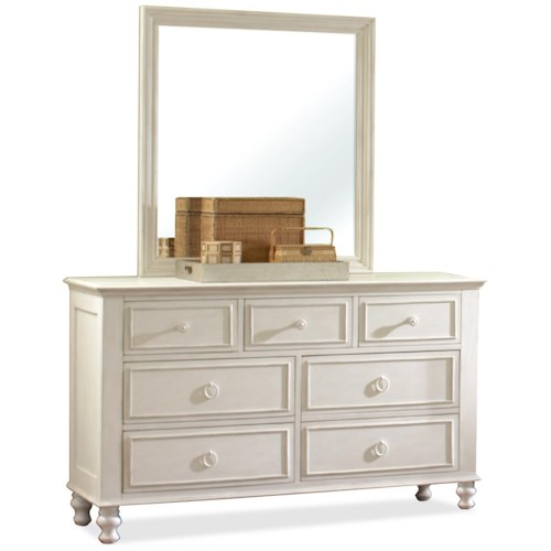 Riverside Furniture Placid Cove Panel Dresser & Rectangular Framed Mirror
