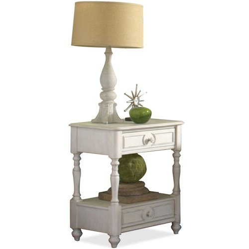 Riverside Furniture Placid Cove Drawered Nightstand with Center Shelf