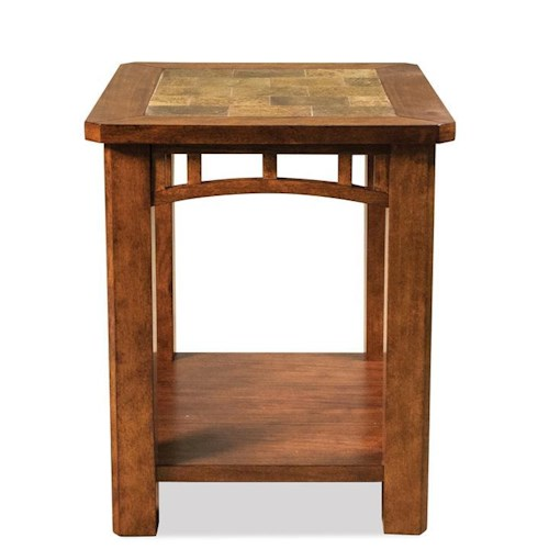 Riverside Furniture Preston Rectangular End Table w/ Slate Inserts