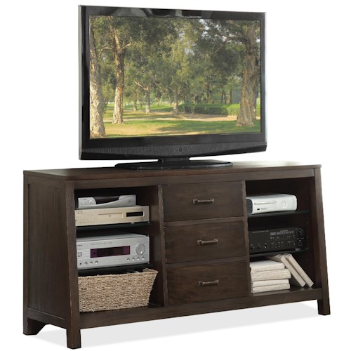Riverside Furniture Promenade  Canted TV Console with 3 Drawers