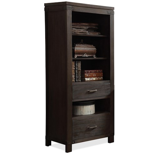 Riverside Furniture Promenade  2 Drawer Etagere Pier with 4 Shelves