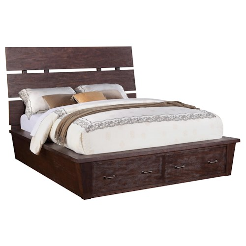 Riverside Furniture Promenade  King Platform Storage Bed with 2 Drawers