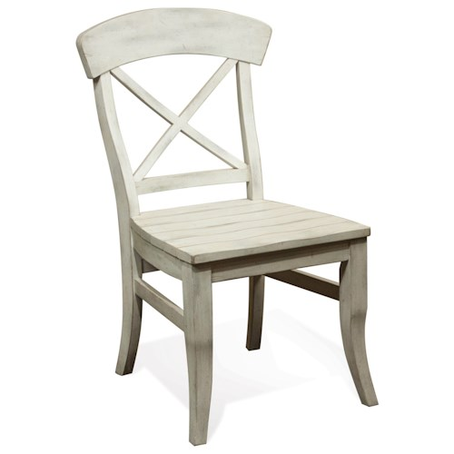 Riverside Furniture Regan X-Back Dining Side Chair with Saddle Seat