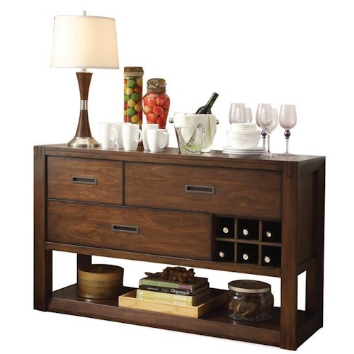 Riverside Furniture Riata Contemporary Server w/ Wine Storage
