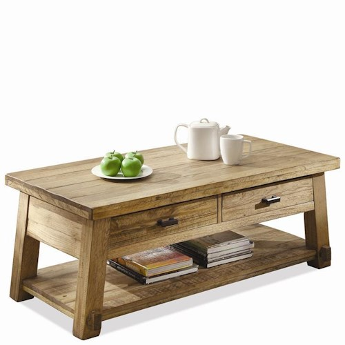 Riverside Furniture Ridgedale Rectangular Cocktail Table with Drawers