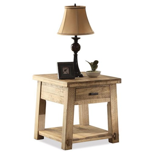 Riverside Furniture Ridgedale Rustic End Table with Drawer