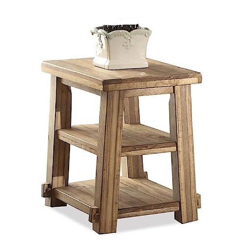 Riverside Furniture Ridgedale Petite Chairside Table w/ Shelves