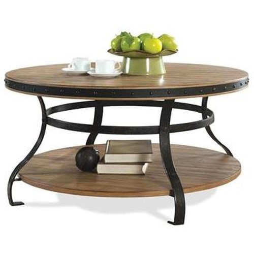 Riverside Furniture Sherborne Round Cocktail Table with Fixed Bottom Shelf