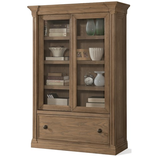 Riverside Furniture Sherborne Sliding Door Bookcase with Bottom File Drawer