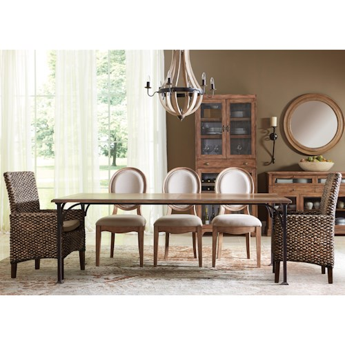 Riverside Furniture Sherborne 6 Piece Table and Woven and Upholstered Chair Set