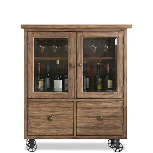 Riverside Furniture Sherborne Glass Door Bar Chest w/ Metal Casters
