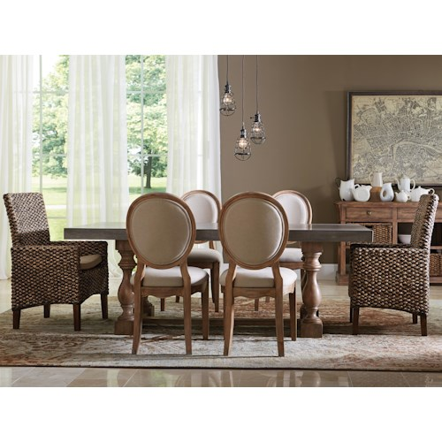 Riverside Furniture Sherborne 7 Piece Concrete Top Table and Woven and Upholstered Chair Set