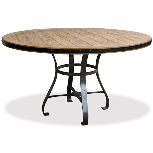 Riverside Furniture Sherborne Round Dining Table with Framed Plank Top