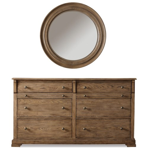 Riverside Furniture Sherborne 6 Drawer Dresser & Round Accent Mirror Set