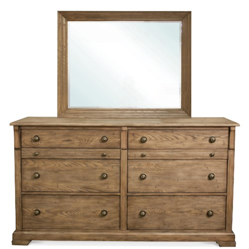 Riverside Furniture Sherborne 6 Drawer Dresser & Landscape Mirror Set