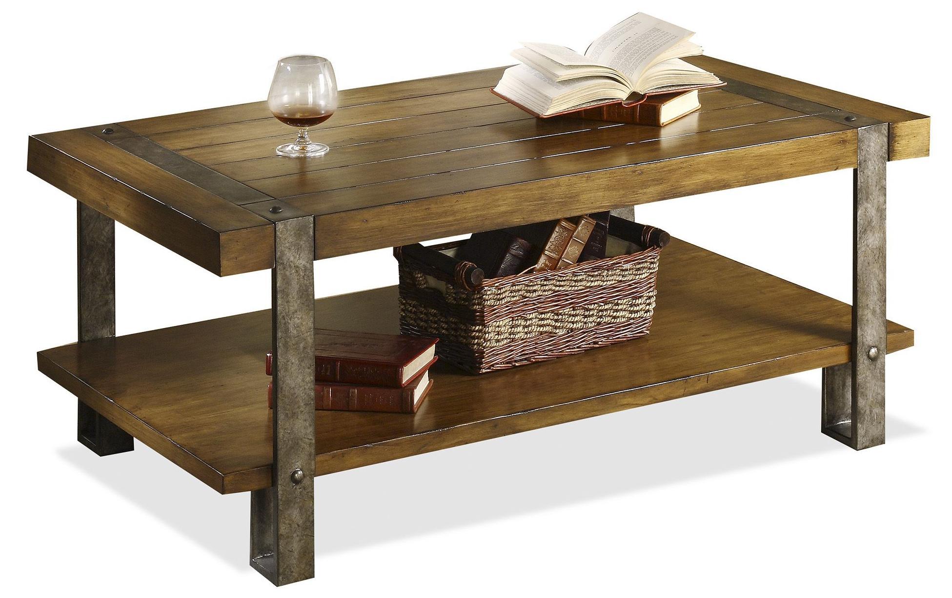 Riverside Furniture Sierra Rustic Styled Coffee Table With Metal Legs