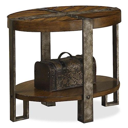 Riverside Furniture Sierra Oval Side Table with Metal Legs