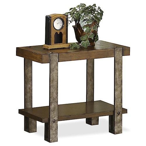 Riverside Furniture Sierra Rustic Chairside Table with Metal Legs