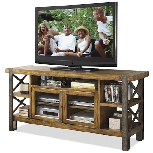 Riverside Furniture Sierra 68-Inch TV Console with 2 Doors & Shelving
