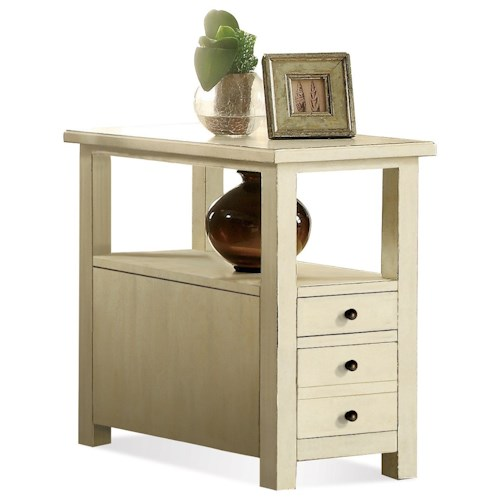 Riverside Furniture Sullivan 2 Drawer Chairside Table in Country White Finish