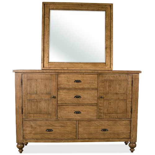 Riverside Furniture Summer Hill Door Dresser & Landscape Mirror
