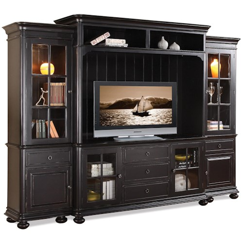 Riverside Furniture Summit 2 Pier Entertainment Wall Unit with Shutter Glass Doors