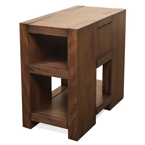 Riverside Furniture Terra Vista Narrow Chairside Table w/ Shelving