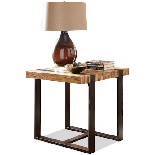 Riverside Furniture Teton Distressed End Table with Metal Base