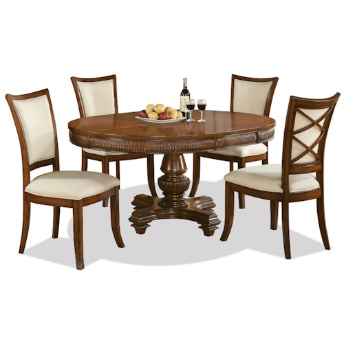 Riverside Furniture Windward Bay 5 Piece Round Table and XX-Back Chair Set