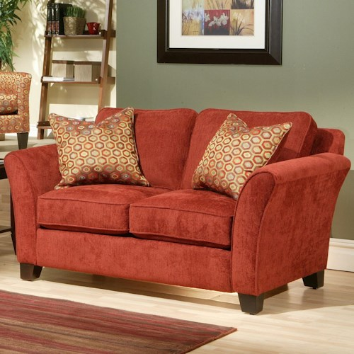 Robert Michael Peyton  Contemporary Love Seat with 2 Toss Pillows