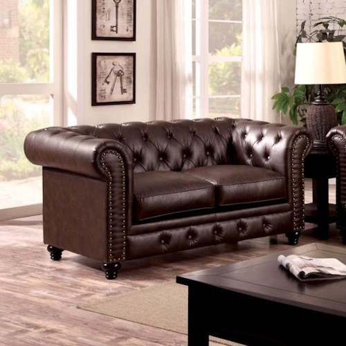 Furniture of America / Import Direct Stanford Stanford Brown Leather Love seat
