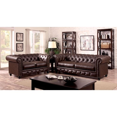 Furniture of America / Import Direct Stanford Sanford Brown Leather Sofa & Love Seat