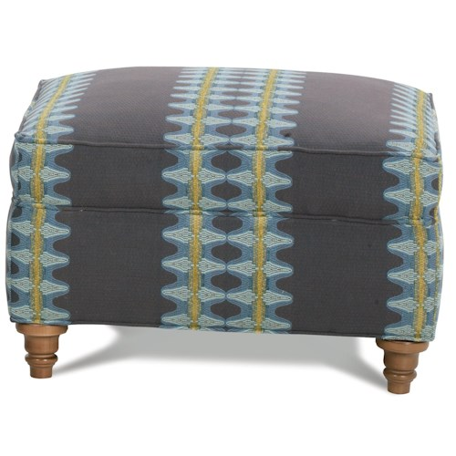 Robin Bruce Hayes Rectangular Ottoman with Turned Wood Feet