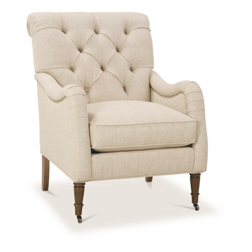 Robin Bruce Sofia Traditional Button-Tufted Chair with Nailheads and Casters