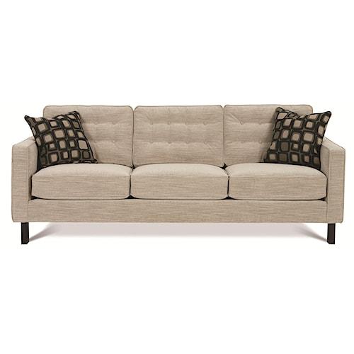Rowe Abbott  Upholstered Three-Seat Sofa w/ Wood Legs