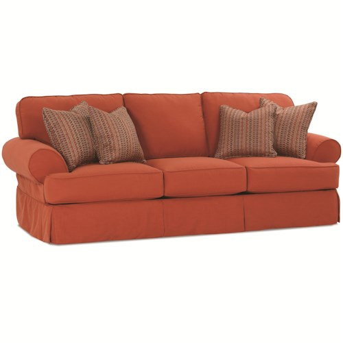 Rowe Addison  Traditional 3 Seat Sofa With Slipcover and Welting