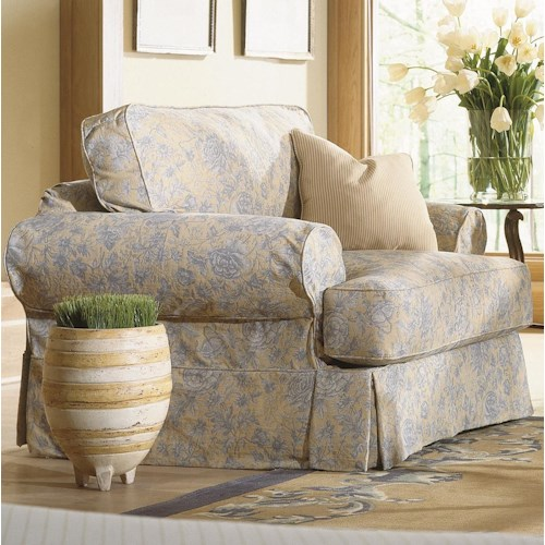 Rowe Addison  Traditional Chair With Slipcover and Welting Detail