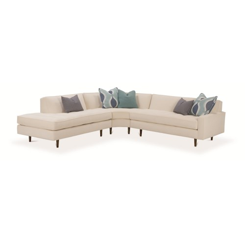 Rowe Brady  Contemporary 3 Piece Sectional Sofa with Track Arms