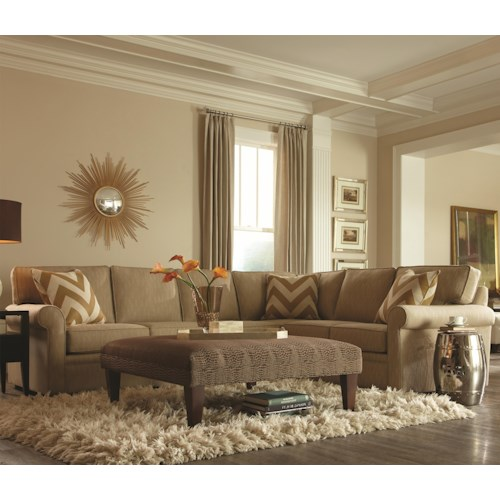 Rowe Brentwood Transitional L-Shaped Sectional with Rolled Arms