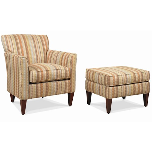 Rowe Chairs and Accents Times Square Contemporary Chair with Matching Ottoman