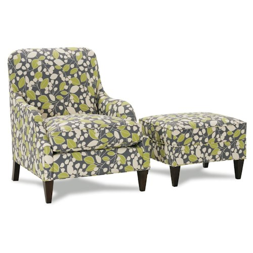 Rowe Chairs and Accents Laine Chair and Ottoman with Low Profile Arms