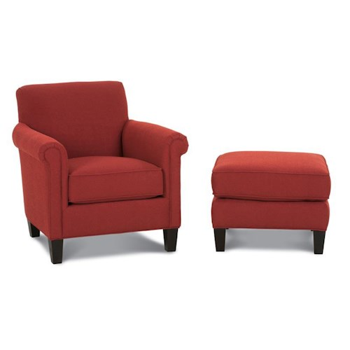 Rowe Chairs and Accents McGuire Upholstered Chair and Ottoman