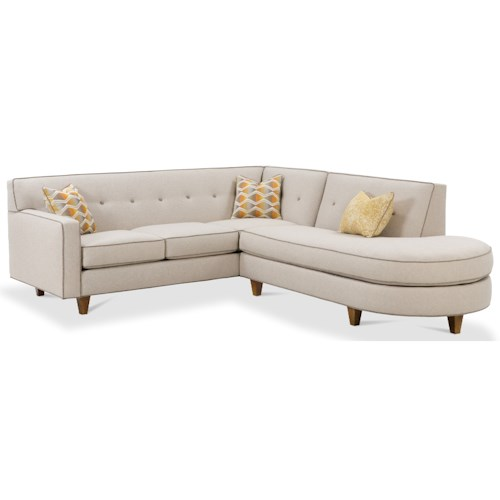 Rowe Dorset Contemporary 2 Piece Sectional Sofa with Tufted Back