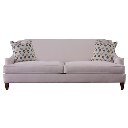 Rowe Dugal Contemporary Two Seater Stationary Sofa with Sloped Track Arms