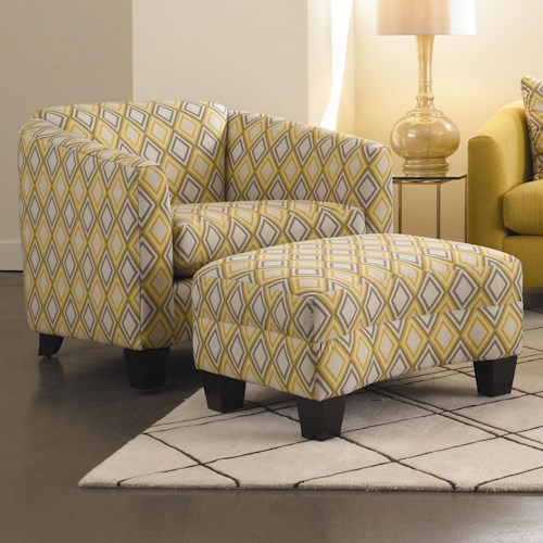 Rowe Easley Contemporary Chair and Ottoman with Wood Feet