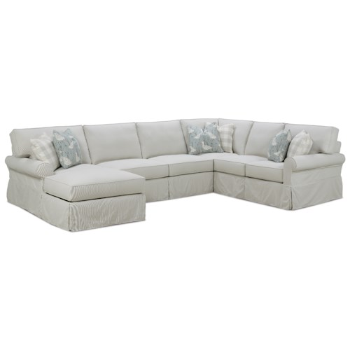 Rowe Easton Casual Sectional Sofa with Slipcover