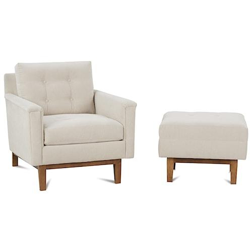 Rowe Ethan  Mid-Century Modern Chair and Ottoman Set