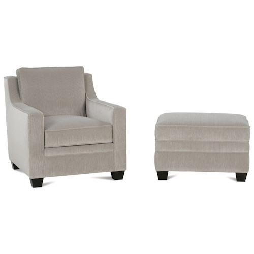 Rowe Fuller Transitional Chair and Ottoman Set